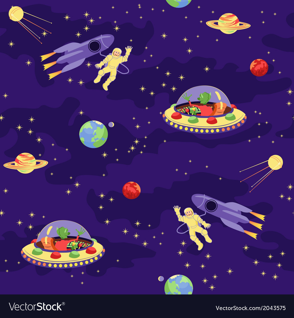 Seamless baby pattern Space travel