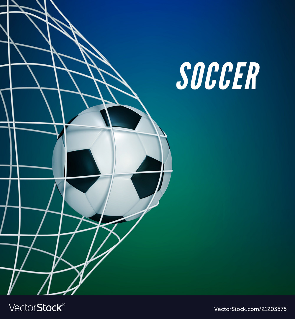 Soccer game match goal moment with ball in the