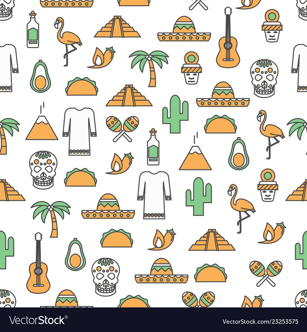 Thin line art mexico seamless pattern