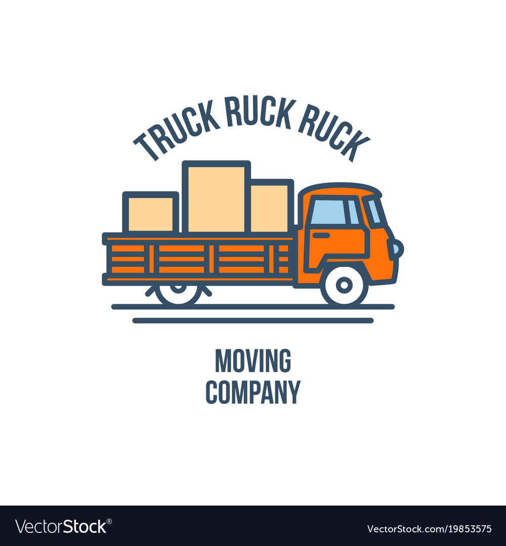 Truck with cargo moving company logo