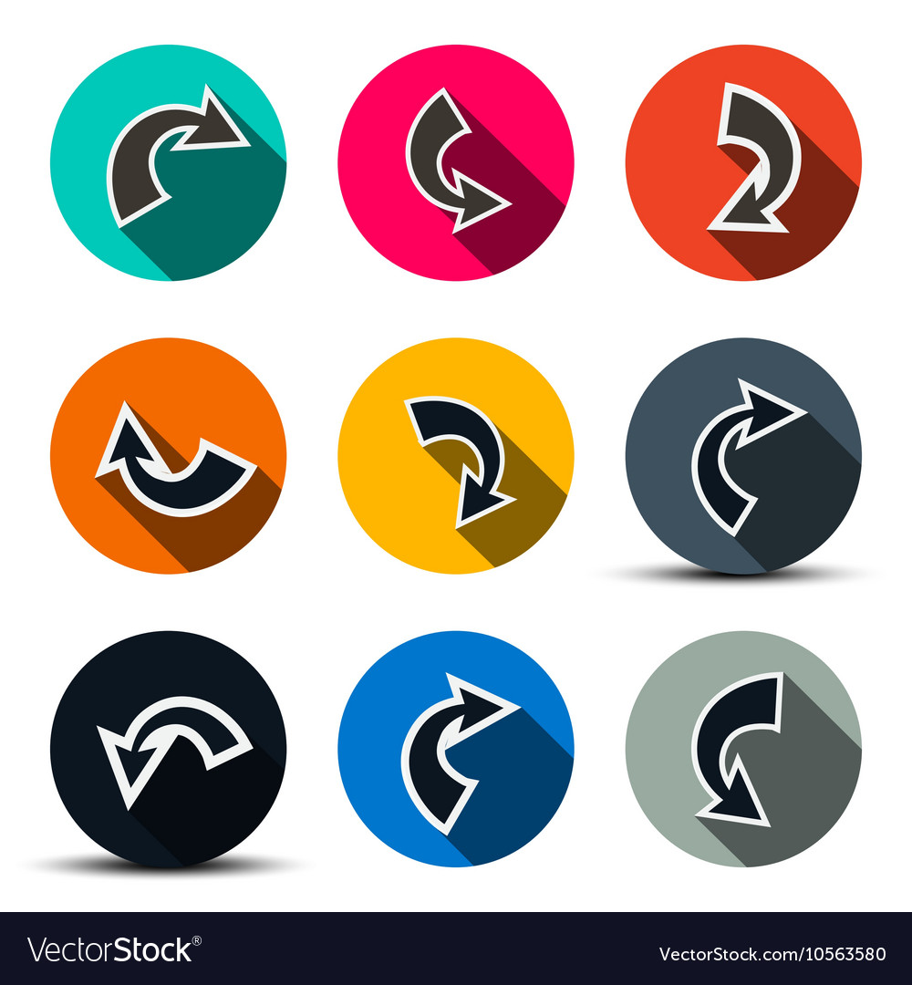 Arrows Set Arrows in Circles Icons Isolated on