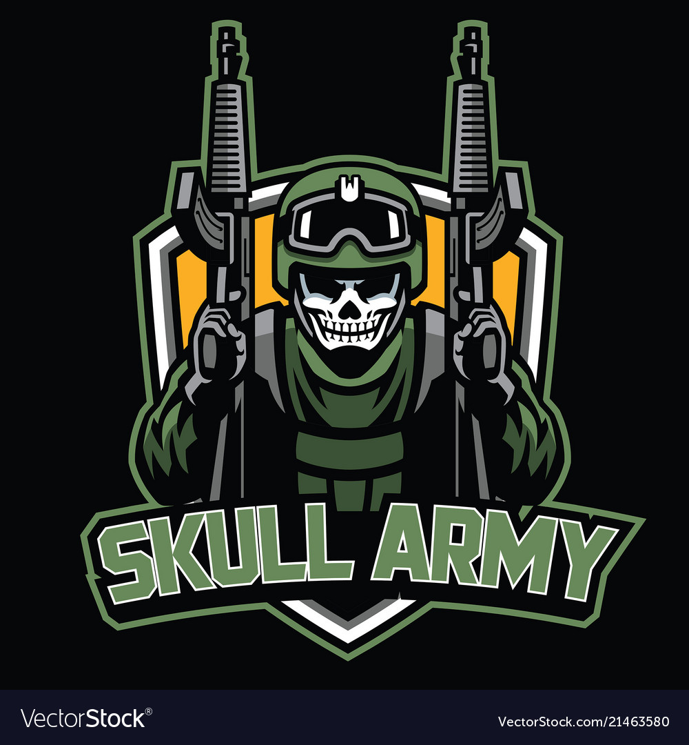 Badge of skull soldier mascot
