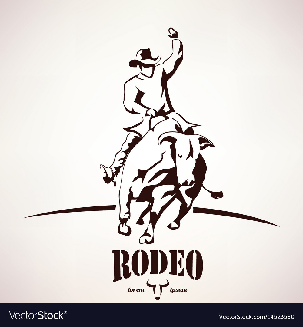 Bull rodeo symbol stylized silhouette