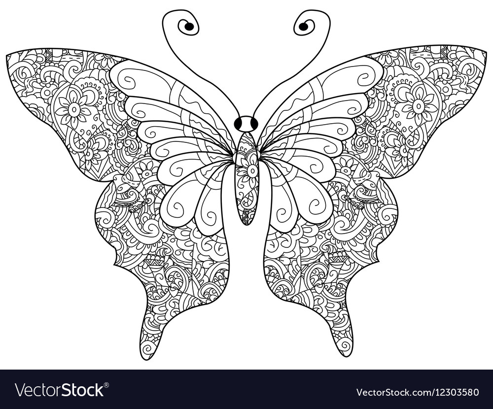 Butterfly Coloring book for adults vector image
