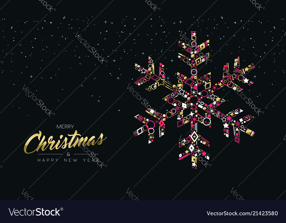 Christmas and new year luxury gold snowflake card