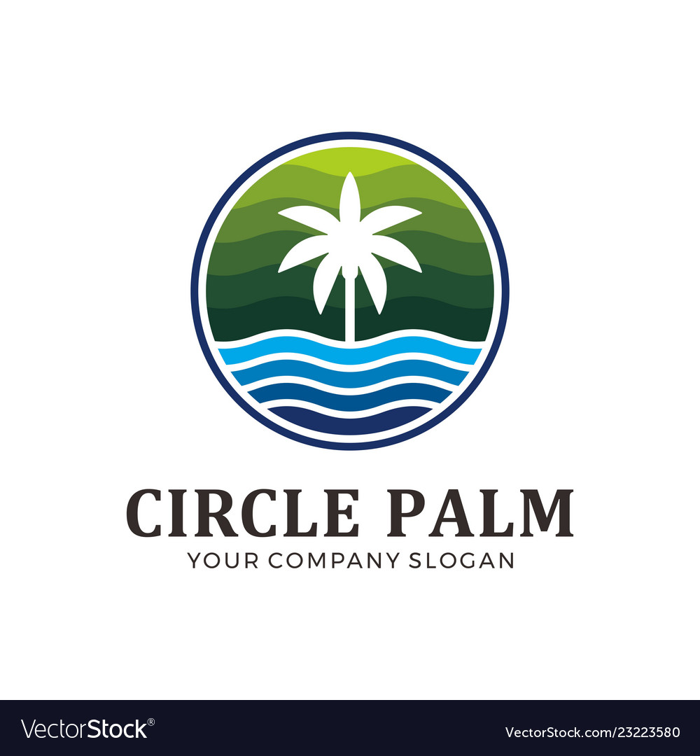 Circle palm with green and blue color