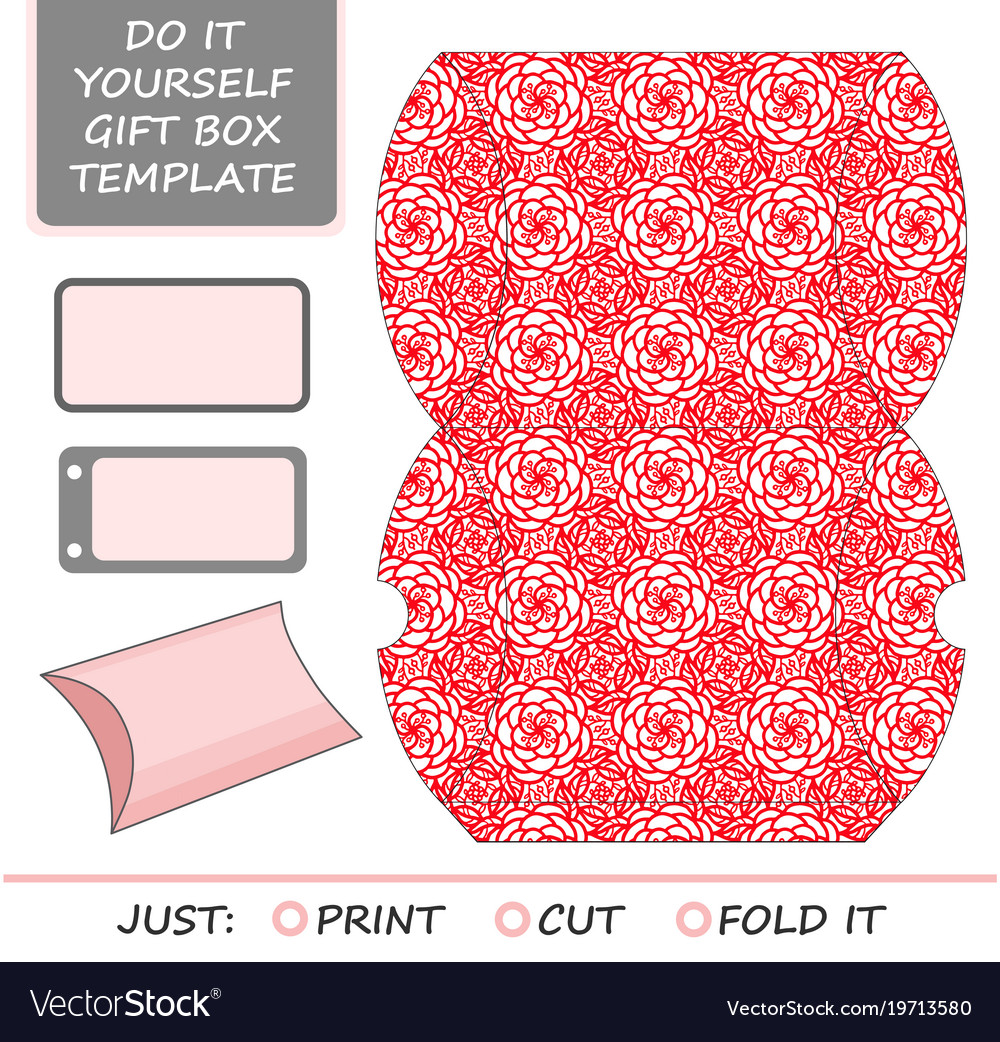 Cut out box template for birthday gift royalty free vector cut out box template for birthday gift vector image solutioingenieria Choice Image