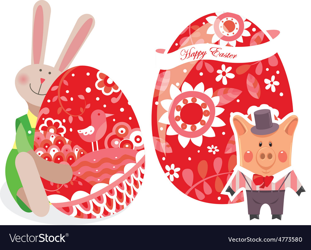 Easter eggs with pig and rabbit