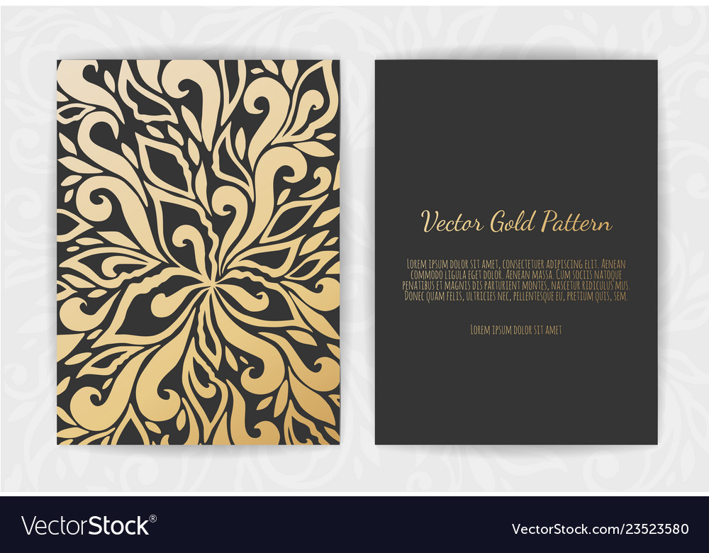 Gold greeting card on a black background luxury