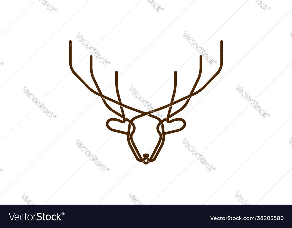 Horned deer elk antler reindeer line monogram