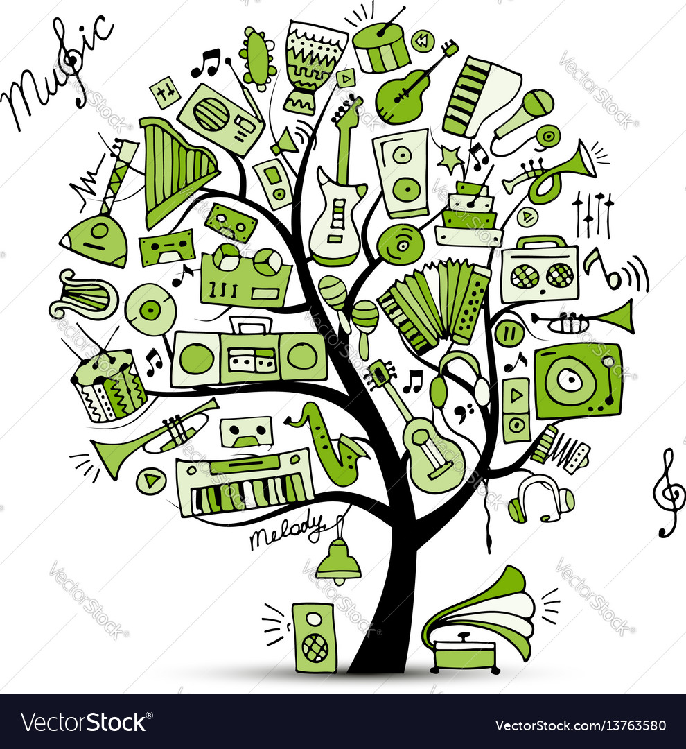 Music instruments tree sketch for your design