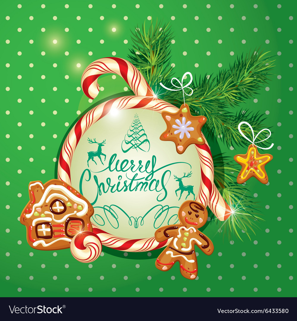 New year holiday greeting card with xmas gingerbre new year holiday greeting card with xmas gingerbre vector image m4hsunfo