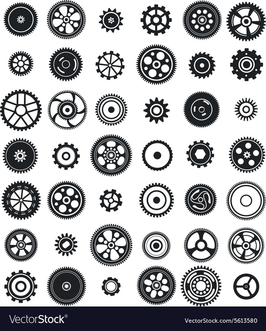 Set of 42 gears vector image