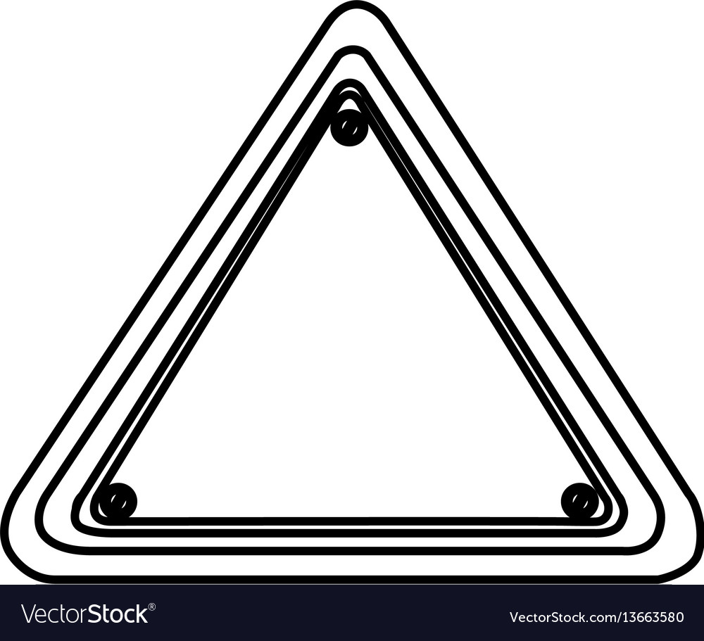 Silhouette triangle shape traffic sign icon vector image