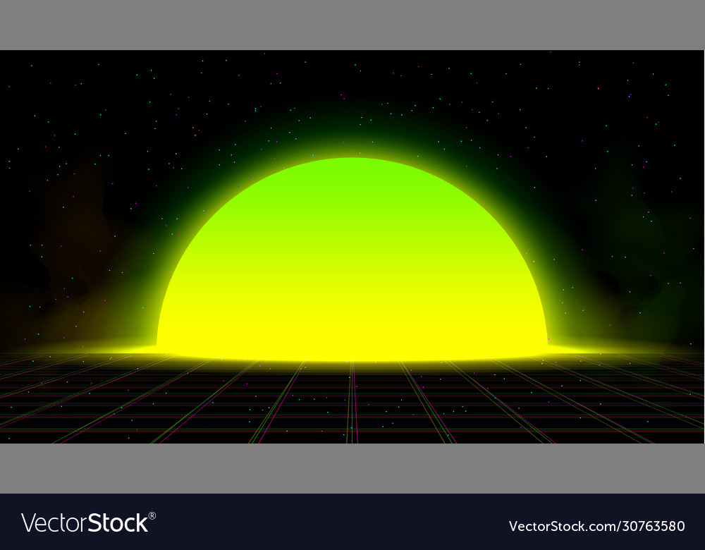 synthwave vaporwave retrowave yellow green sunset vector 30763580