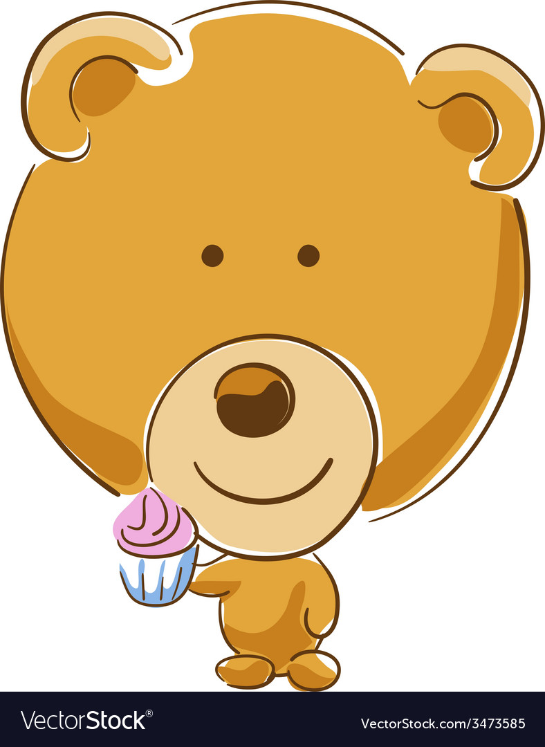 Bear with cupcake vector image