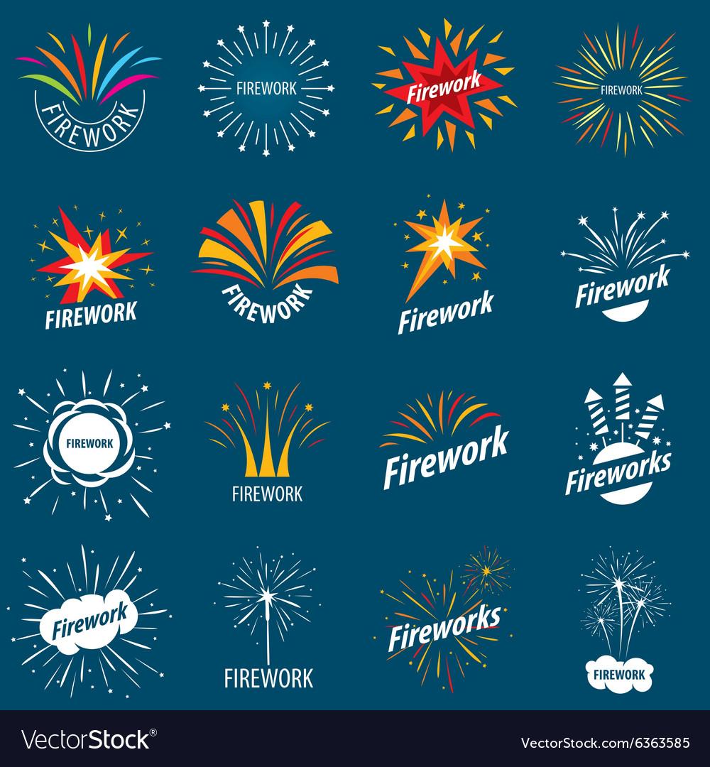 biggest collection of logos for fireworks vector image rh vectorstock com Shooting Fireworks Fireworks Transparent Background