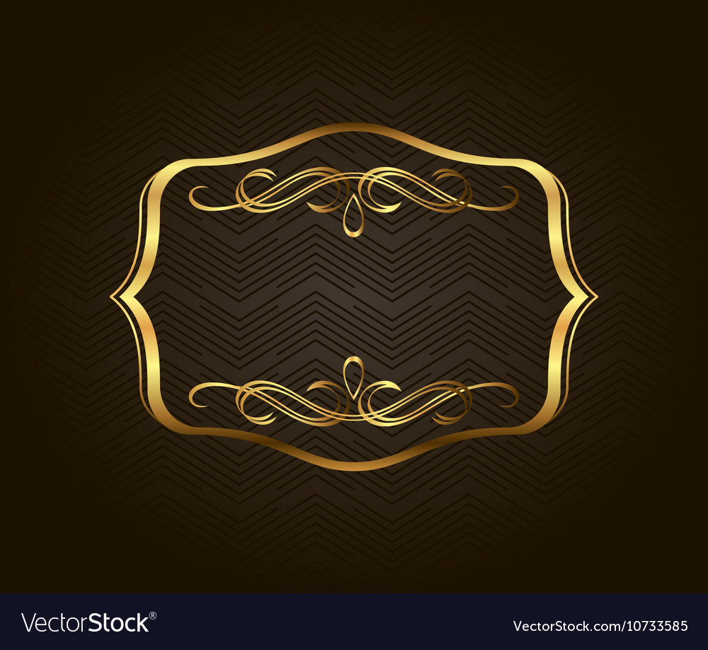 9bb6399e6f15 Blank golden vintage frame banner label Royalty Free Vector