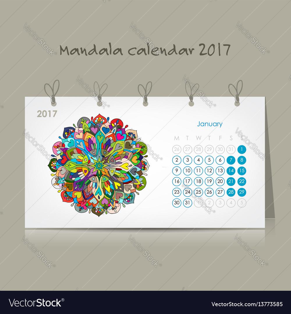 Calendar 2017 mandala design