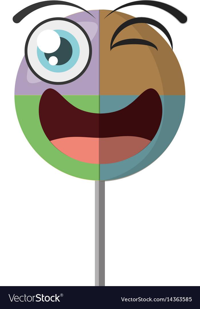 Cartoon lollipop sweet party wink