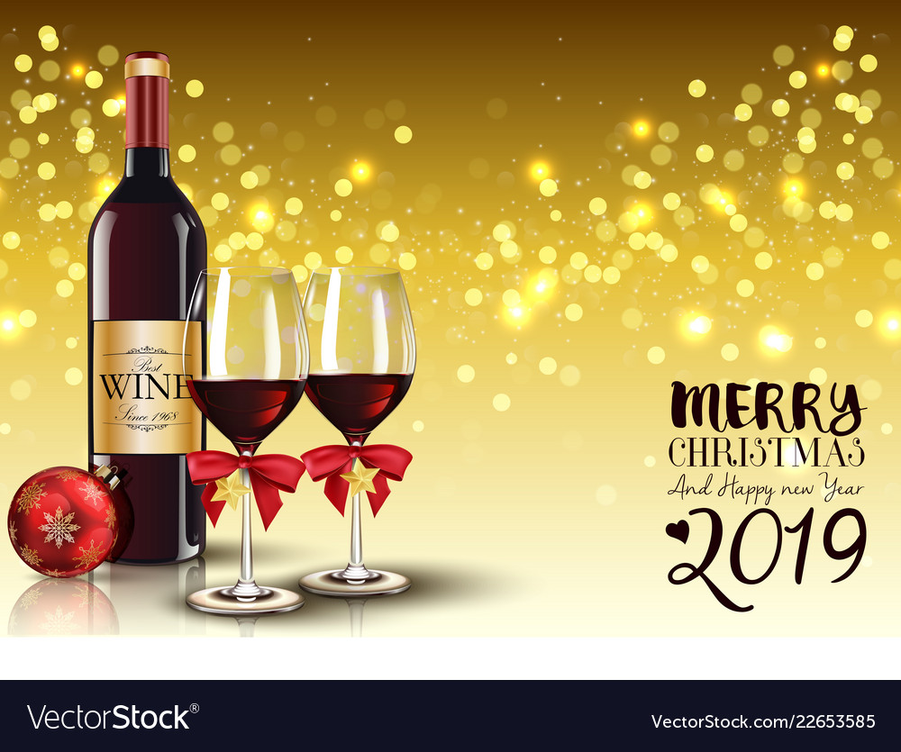 Christmas party with champagne bottle and wine