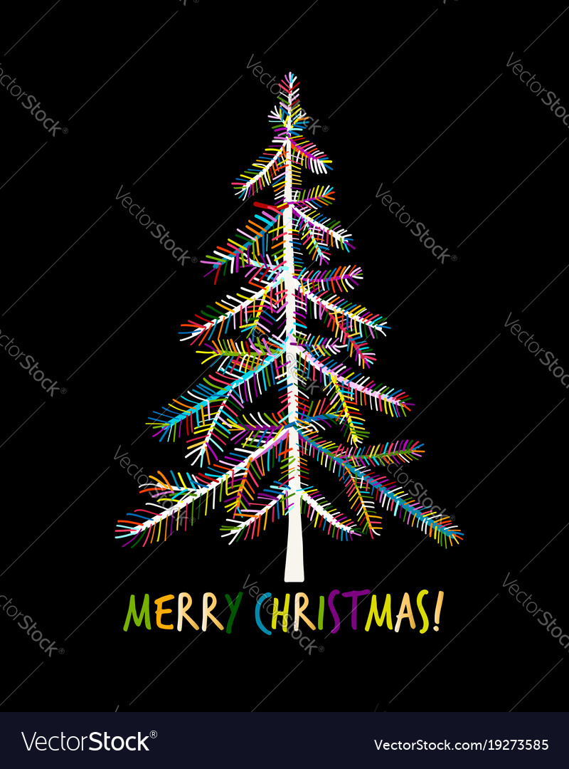 Christmas tree greeting card for your design
