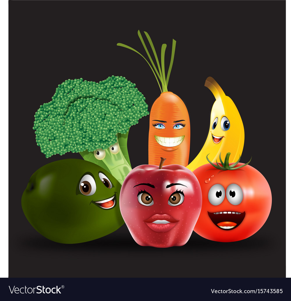 Fruits veggies collection 2 vector image