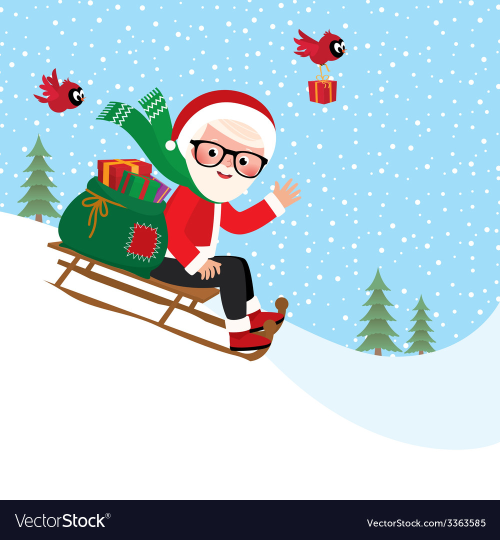 Santa Claus with a bag of gifts on sledge vector image