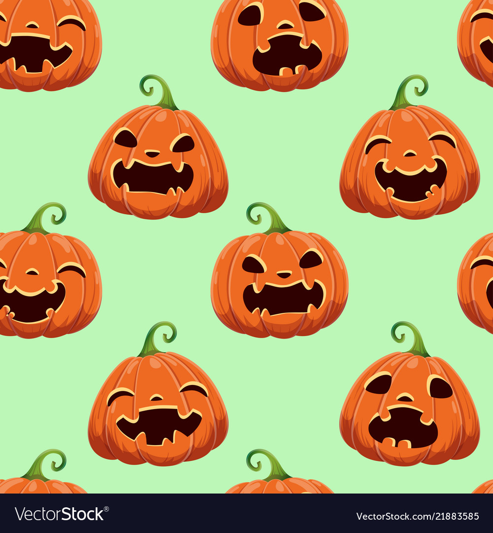 Seamless pattern with different halloween pumpkins