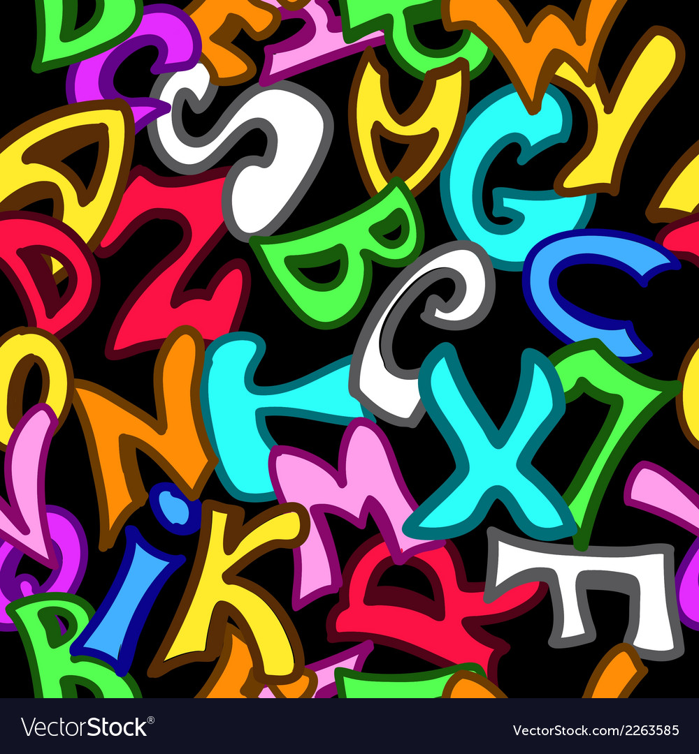 Seamless pattern with letters in graffiti style