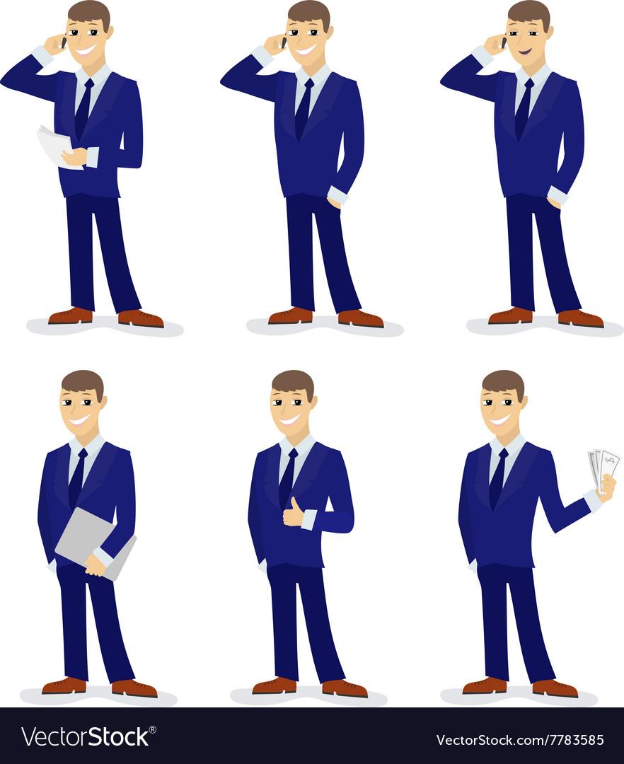 Set of cartoon businessmans vector image