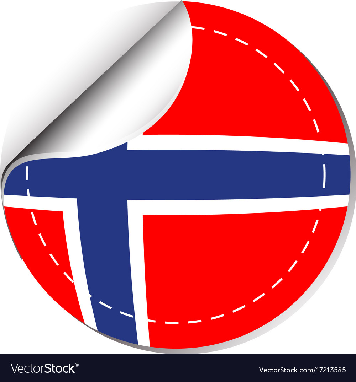 Sticker design for norway flag vector image