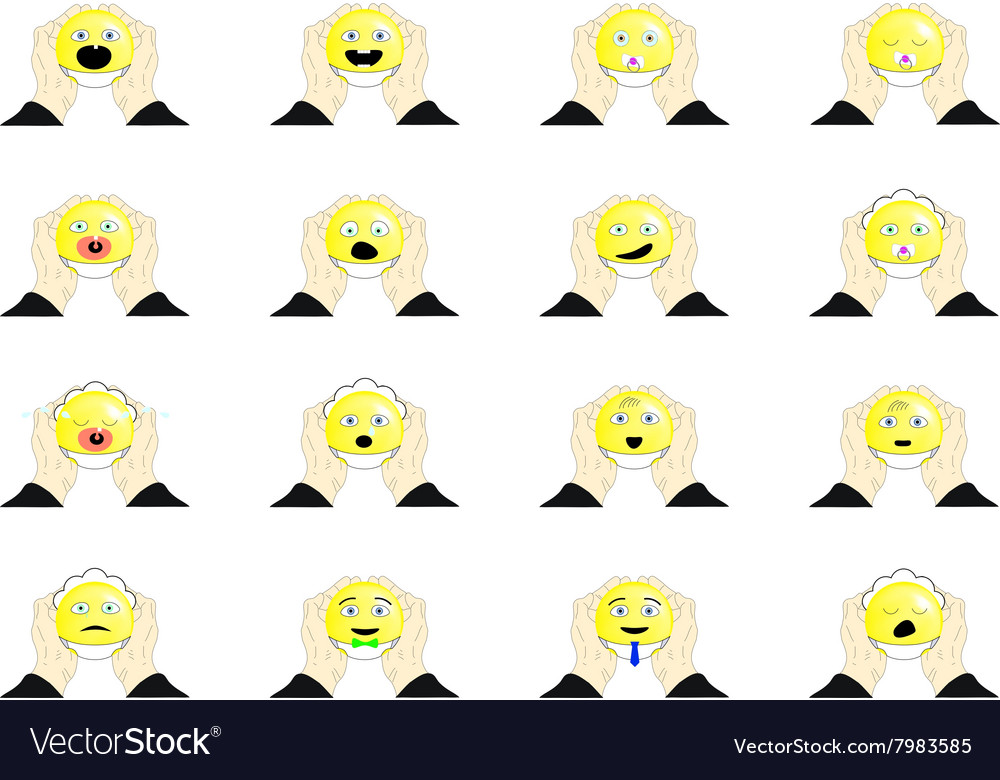 The set of emoticons in diapers vector image