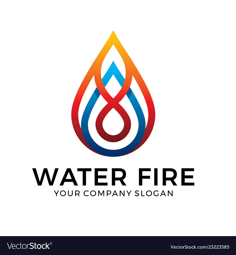 Water logo design with blue and orange color