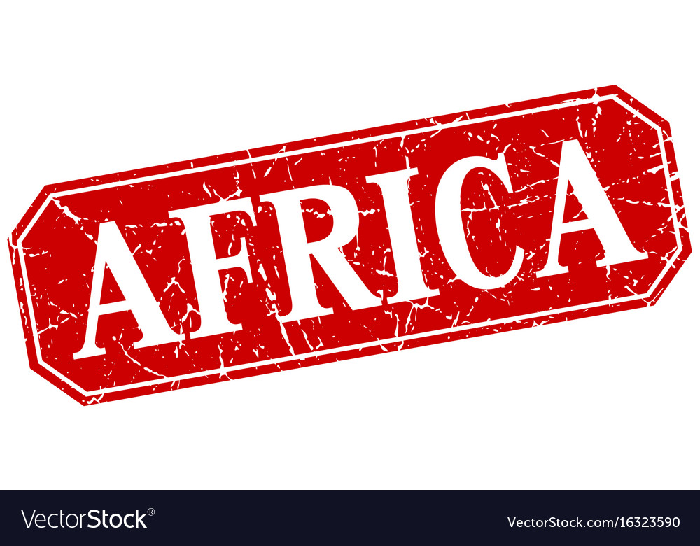 Africa red square grunge retro style sign vector image
