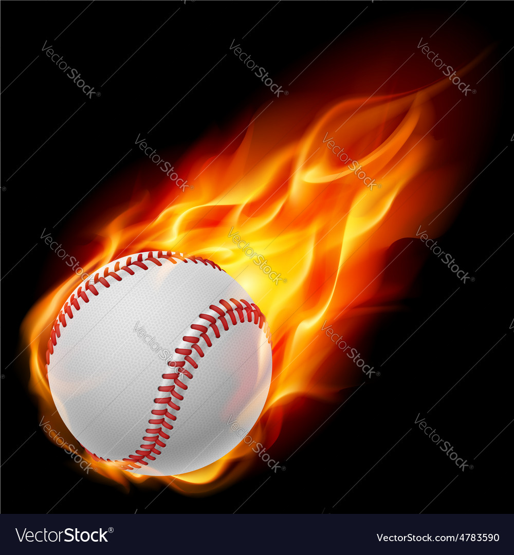 Baseball on fire vector image