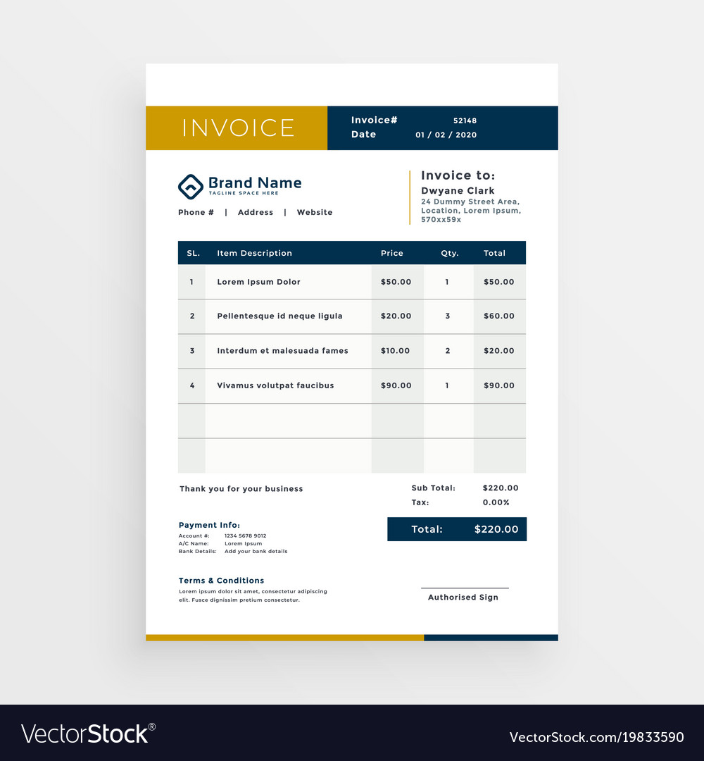 clean invoice template design royalty free vector image