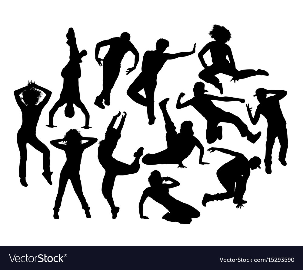 Cool hip hop expression silhouettes