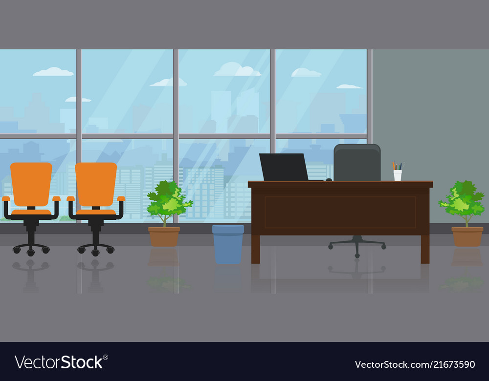 Empty modern wide office interior with large