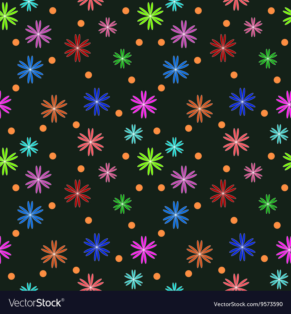 Flower and circle seamless pattern