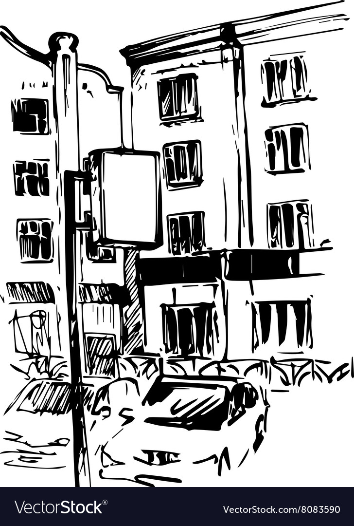 Hand drawn urban sketch