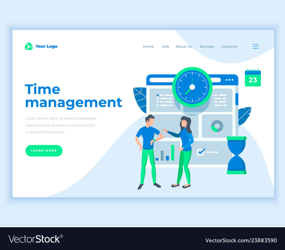 Landing page template time management concept with