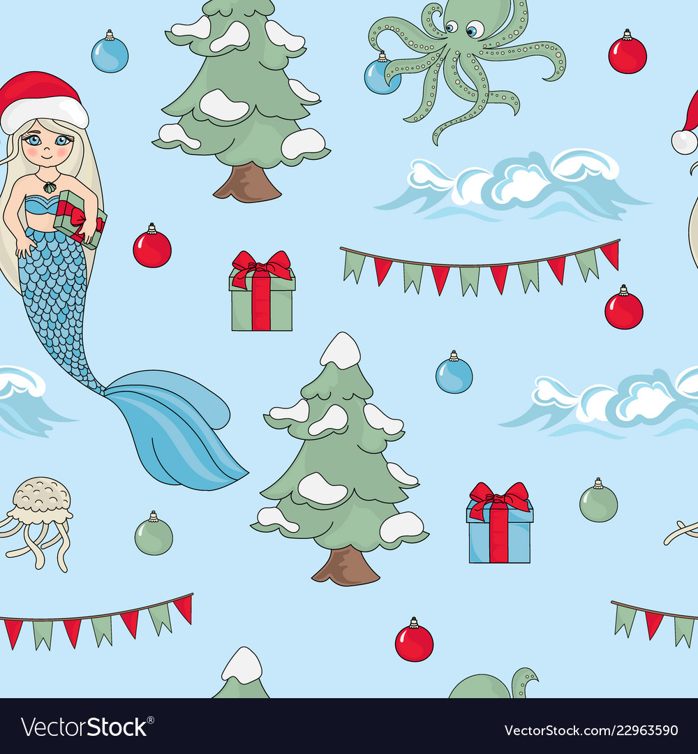 Mermaid celebrate pattern seamless