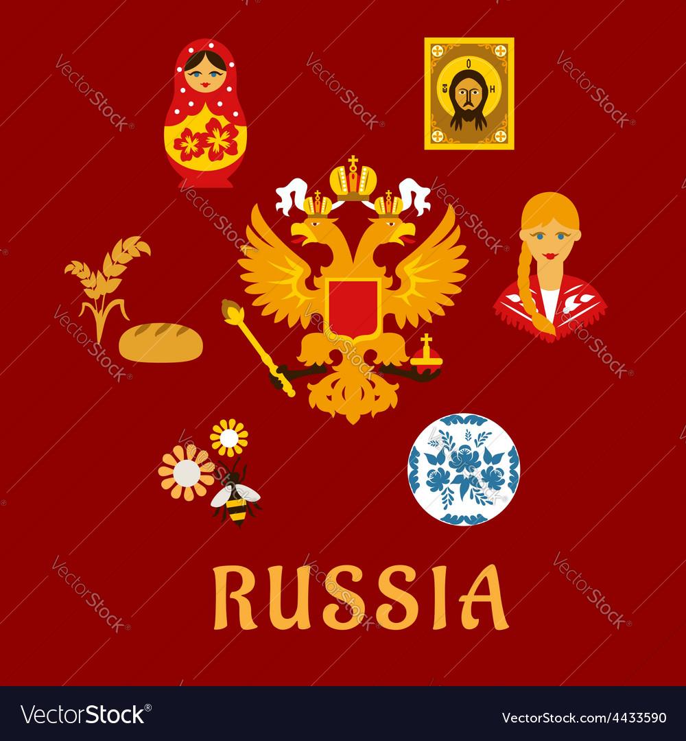 Russian Traditional National Flat Symbols Vector Image