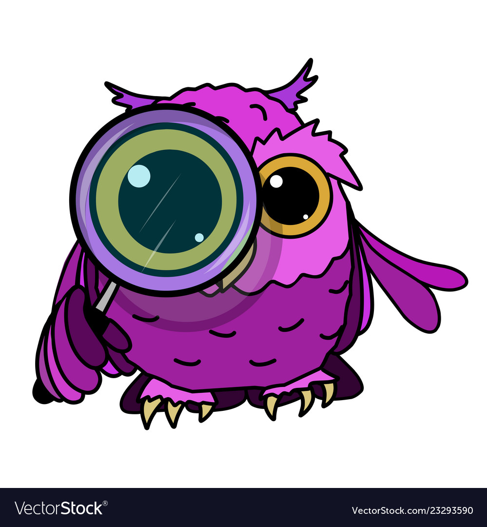 Stock owl looks through a magnifying glass