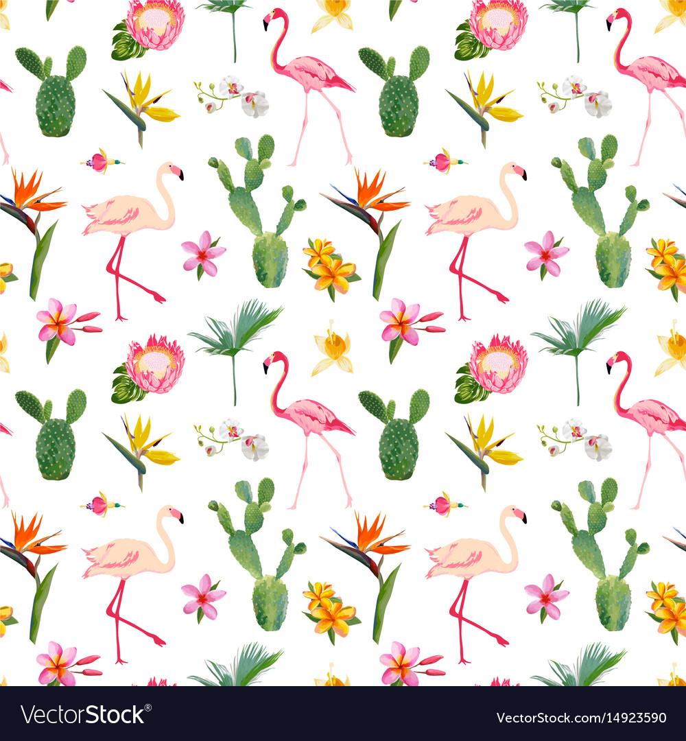 Tropical seamless flamingo summer pattern