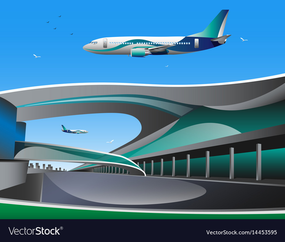 Airport with infographic elements templates