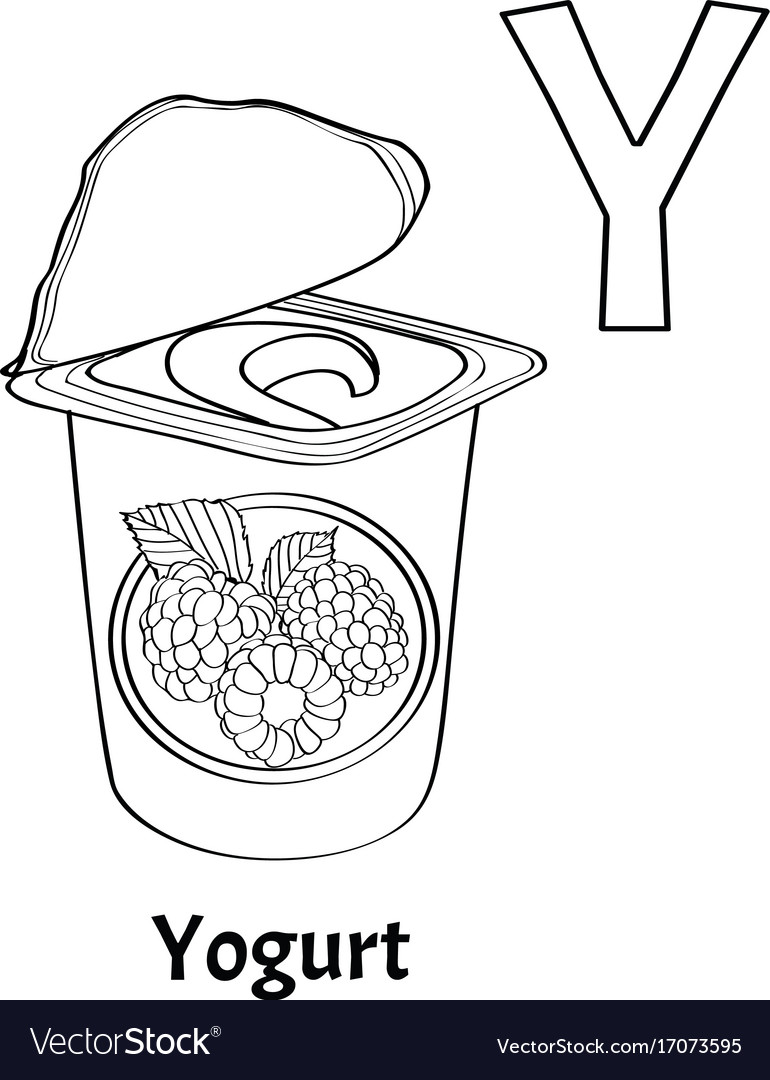 Alphabet letter y coloring page yogurt Royalty Free Vector