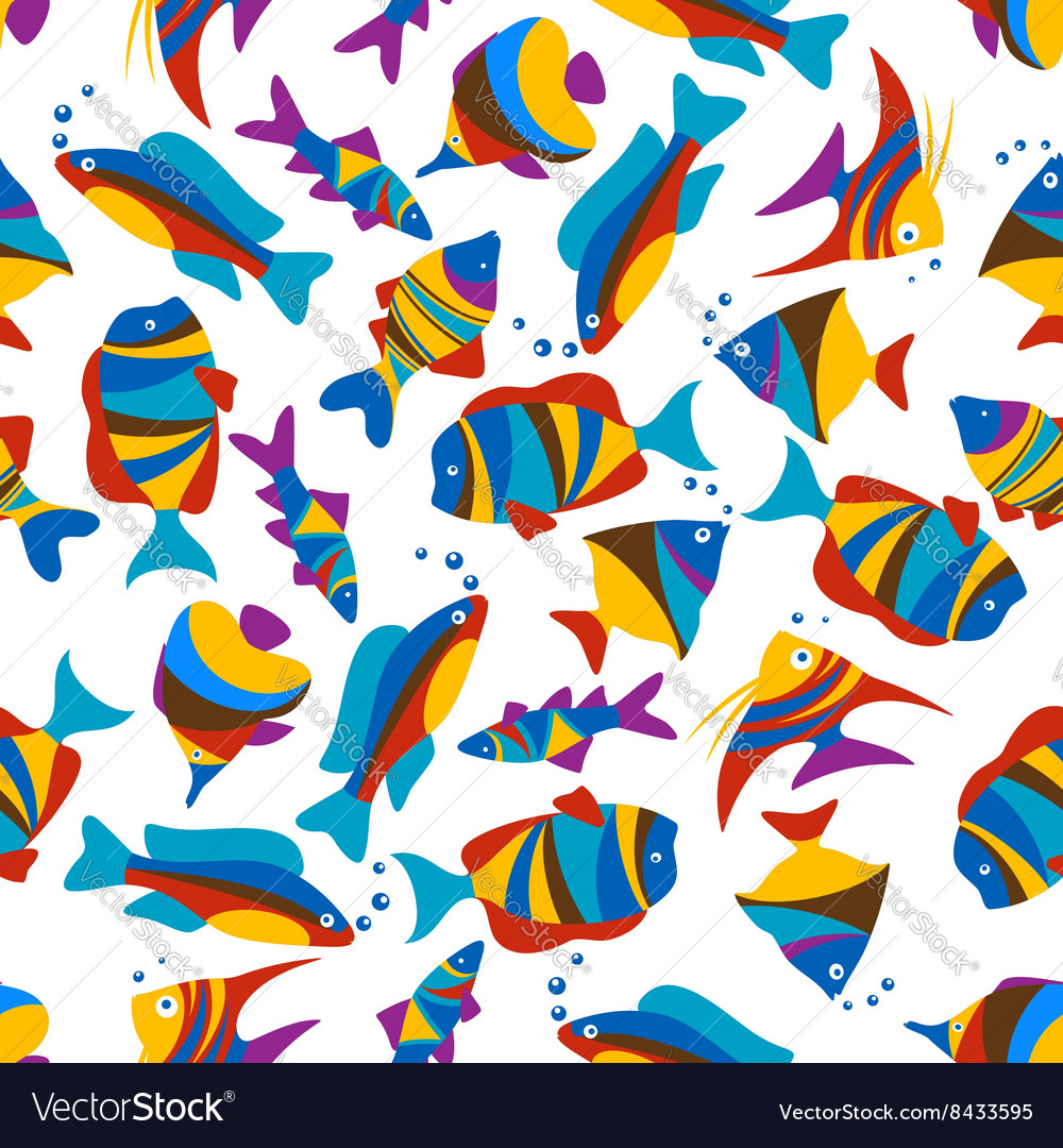 Bright colorful exotic fishes seamless pattern