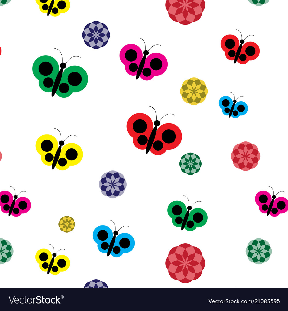 Butterfly and flowers on white background vector image